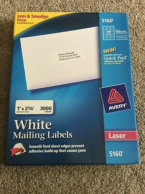Avery Laser White Mailing Labels 5160 100 Sheets 3000 Labels