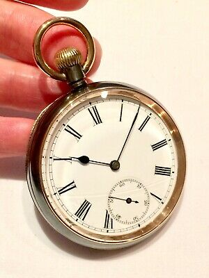 FINEST Condition Antique OMEGA Gunmetal & Gold Plated Mens Pocket Watch
