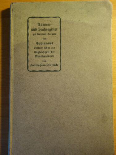 Kleinecke Paul: Namen- und Sachregister zur deutschen Ausgabe von Gobineau 1908