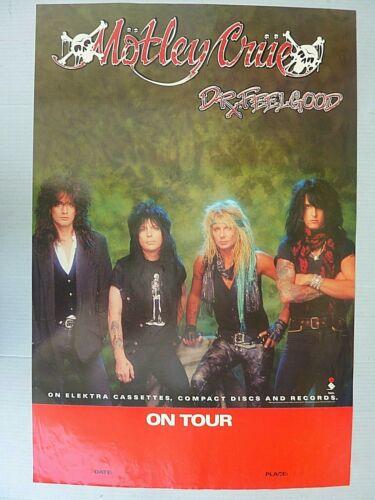 RARE MOTLEY CRUE DR FEELGOOD 1989 VINTAGE ORIG MUSIC STORE TOUR PROMO POSTER