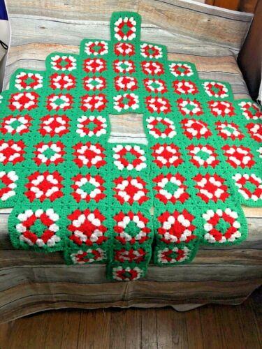 "Vintage Crocheted Christmas Tree Skirt Granny Square Red White Green 44"" Mid cen"