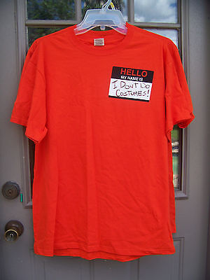 New Halloween T Shirt Orange Hello My Name Is I Don't Do Costumes Mens Large - Halloween Is My Name