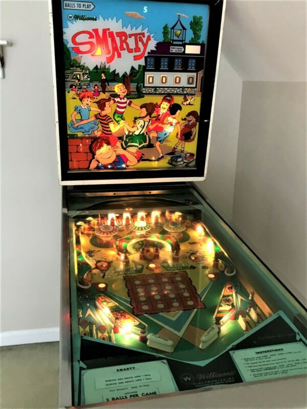 Rare Vintage Williams SMARTY Pinball Machine 1968 great working condition
