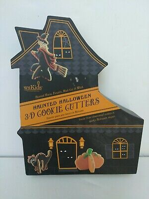 WILLIAM'S SONOMA KIDS HAUNTED HALLOWEEN 3D METAL COOKIE CUTTERS 2007 NEW IN BOX