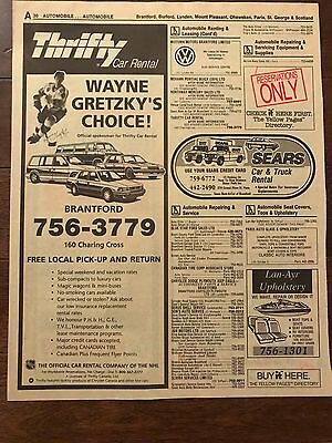 Wayne Gretzky Phone Book Yellow Pages Thrifty Car Rental 1990S Brantford Issue
