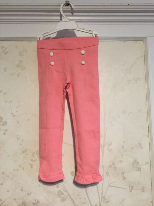 NWT Janie And Jack Girls Button Front Ponte Pants 4 4T Pink