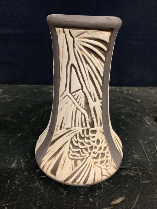 WELLER Claywood corseted vase with pine cones