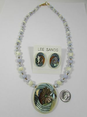 Lee Sands Shell Inlaid Flower Necklace & Earring Set Handmade Hawaii VINTAGE