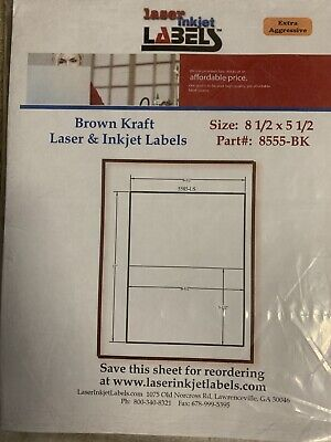 Brown Kraft Paper Extra Adhesive Sticker Labels Inkjet Laser Printers 8.5 X 5.5