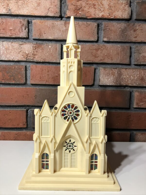 Vintage Paramount Illuminated Musical Lighted Christmas Cathedral With Box