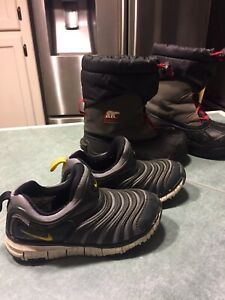 Youths 12* Nike sneaker and Sorel snow boots