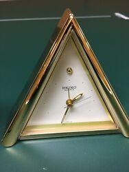 SEIKO Japan Quartz Triangular Desk Mantle Vintage Alarm Clock Gold Brass Case