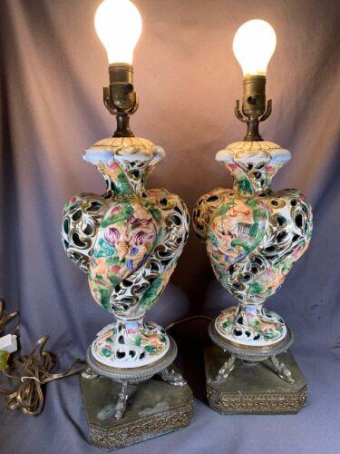 Rare Italian CAPODIMONTE Porcelain Table Lamp Gold Trim Mother & Children  a418