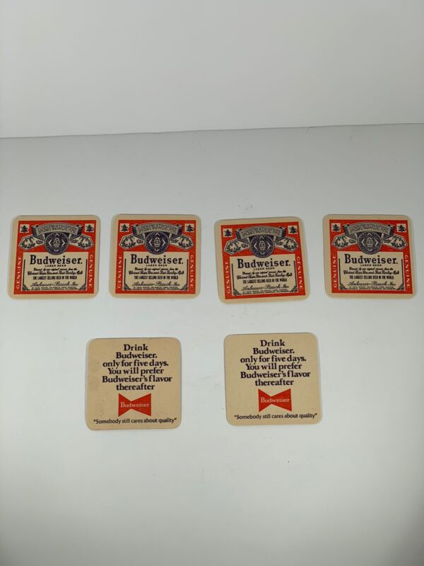 Vintage Lot of 16 Budweiser Beer Coasters 1970