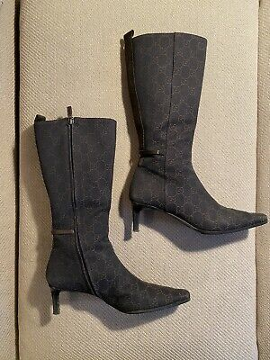 Vintage 1990's/2000 Chocolate Brown Gucci Monogram Heeled Boots, Size 8