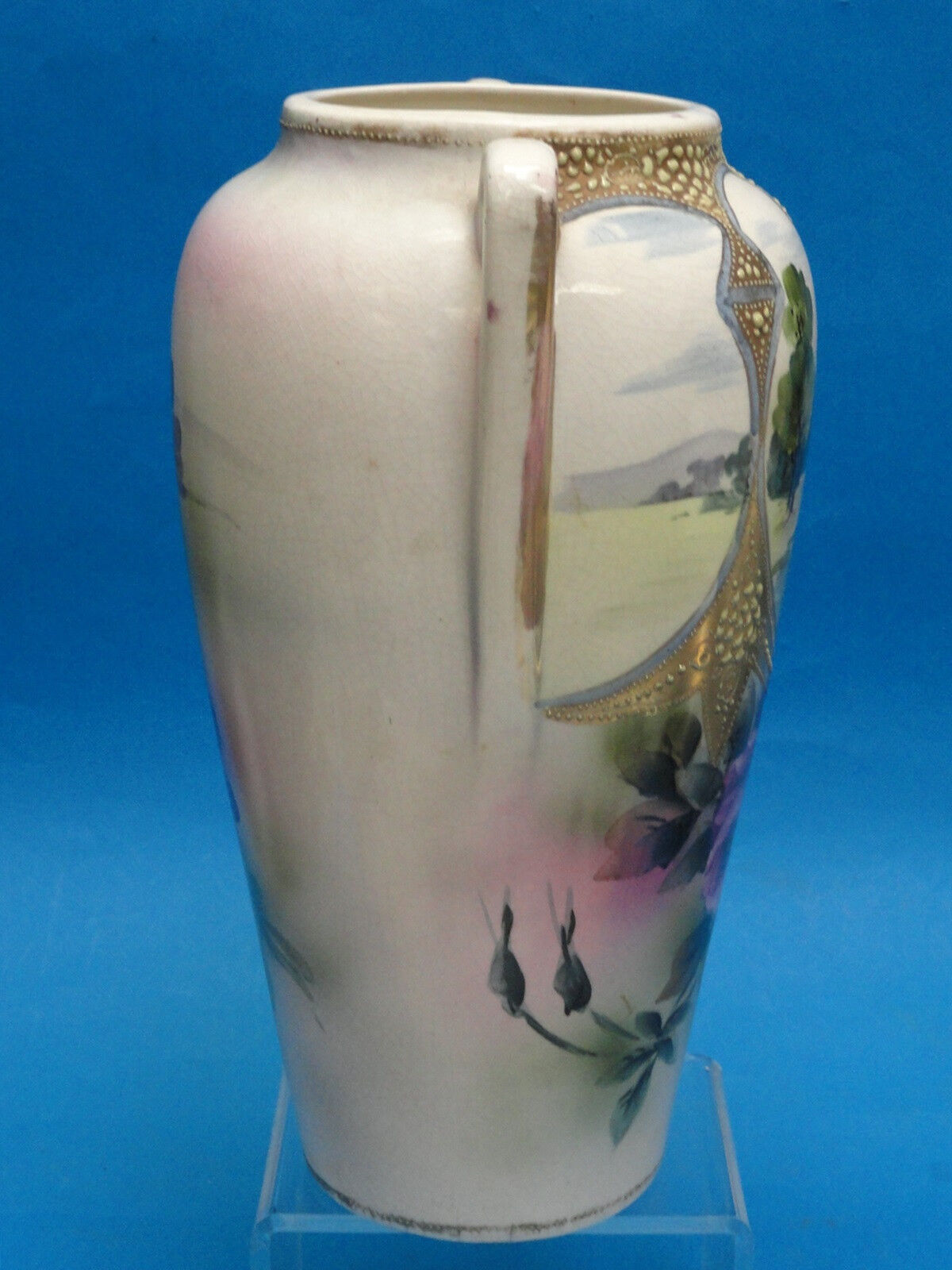 Antique Nishiki Royal Nippon Raised Moriage Japanese Vase