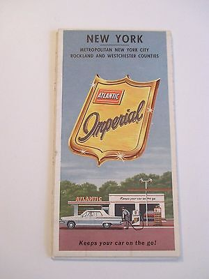 Vintage 1964 ATLANTIC IMPERIAL NEW YORK Oil Gas Service Station Road Map