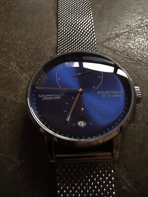 GUANQIN Automatic Mechanical Watch, Blue Dial, Power Reserve, Mesh Bracelet, -