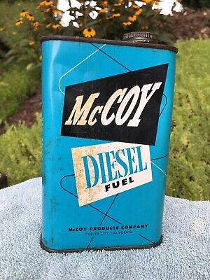 Vintage 1950s McCoy Diesel Fuel Empty Metal Can Old Model Airplane Car Engines
