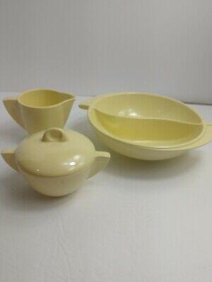 Boonton Ware Mid Century 3 Pc Yellow Sugar and Creamer and Divided Bowl
