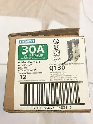 12 New In Box Siemens Q130 30a Circuit Breakers 1p 120240v Best Price