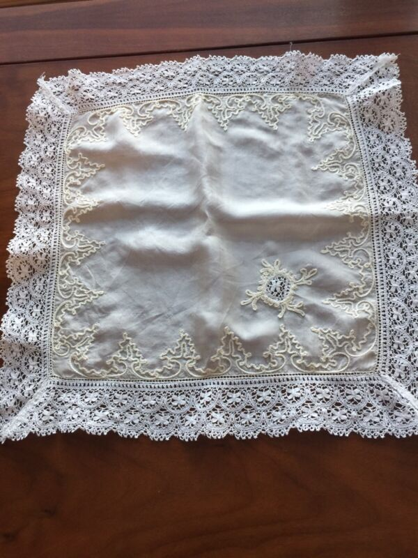 Antique Silk & Lace Wedding Embroidered Wedding Hanky Exceptional!