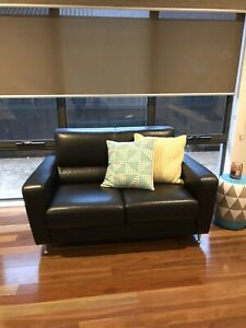 Freedom furniture 2 seater couch sofa black LEATHER TINO sofa couch