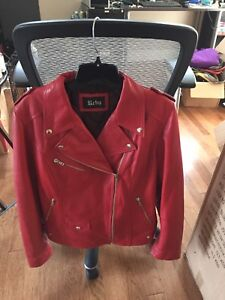 Brand new never worn red leather women's motorcycle jacket