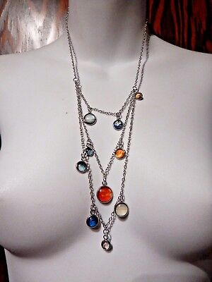 Solar System Bib Necklace Planet Photograph Cabs Astronomy Astrology Pluto 1V