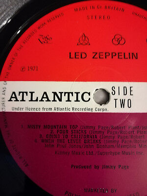 Used, Led Zeppelin IV 4 Red/Plum TOP label ERROR A3/B4 Porky EX++ vinyl + lovely cover for sale  Shipping to South Africa