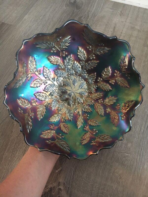 "Vintage Fenton Amethyst Blue Carnival Glass Iridescent Holly Bowl Ruffled 9"""