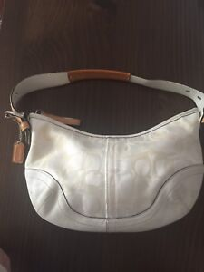AUTHENTIC COACH blanc  sac à main / white purse sacoche handbag