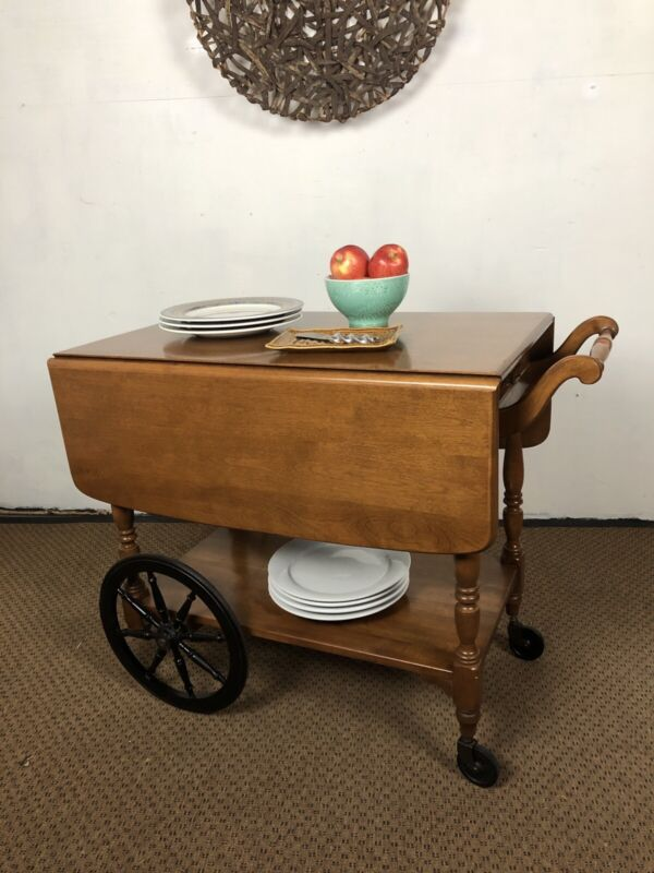 Ethan Allen Heirloom  Maple Serving Cart With Drop Leaves Maple Tea Cart