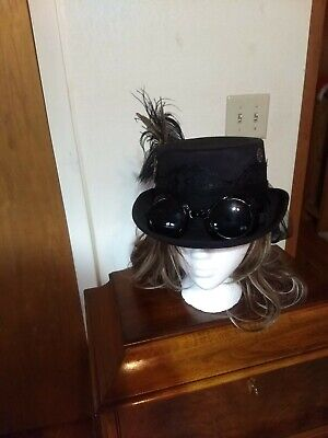 Steampunk hat women D&J Hat Art one size black gears feathers ribbon