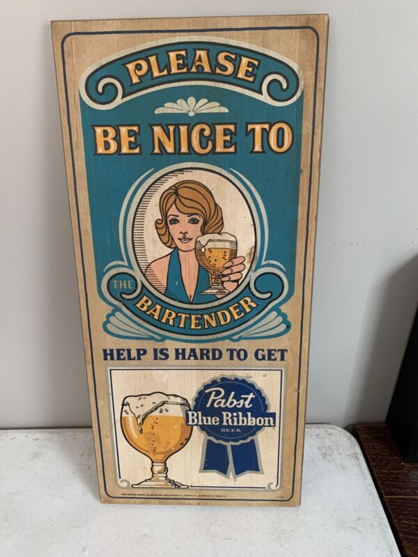 Pabst Blue Ribbon Beer Wooden Sign - Rare White Female Bartender Mancave