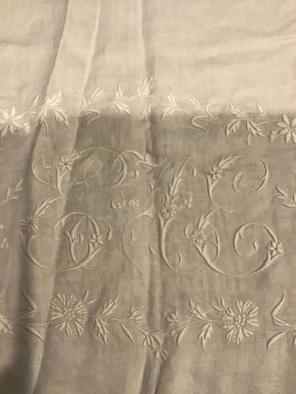 "GORGEOUS Hand Embroidered Floral GrapesLinen Tablecloth Monogrammed ""EE""- Damage"