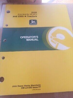 John Deere 2155 2355 Owners Manual Oem Original