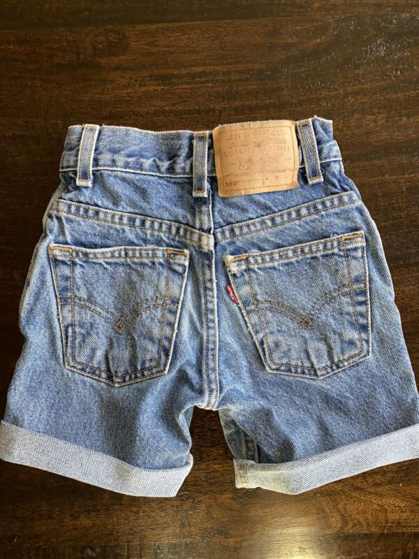 Vintage Rare  Levis 550 Denim Slim Cut Off Short Pants Girls Kids Size 6