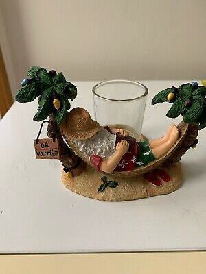 Christmas YANKEE CANDLE Santa Claus In Hammock Vacation Votive Holder Palm Trees