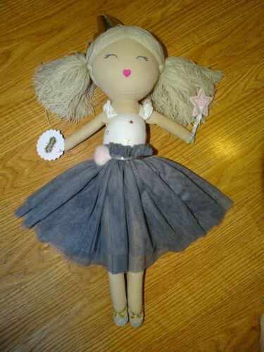 Mud Pie  Baby Girl Grey Ballerina Doll Toy Plush Dance NWT