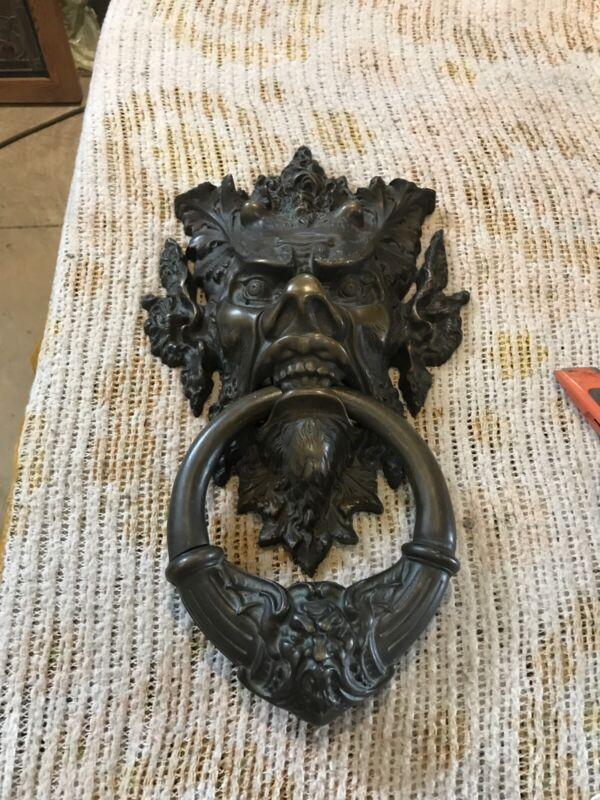 Antique bronze brass figure old door knocker 16.5 x 9.5