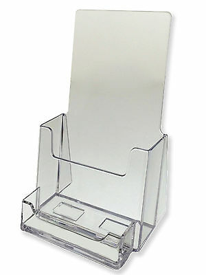 2 Pack Clear Tri-Fold Brochure Holder With Business Card AZM Displays ON SALE