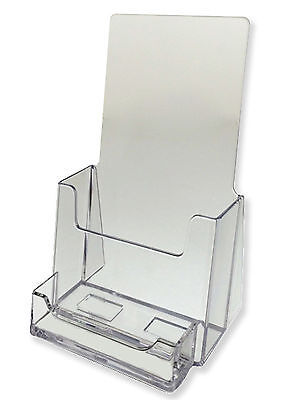 2 Pack Clear Tri-Fold Brochure Holder With Business Card AZM Display Made USA