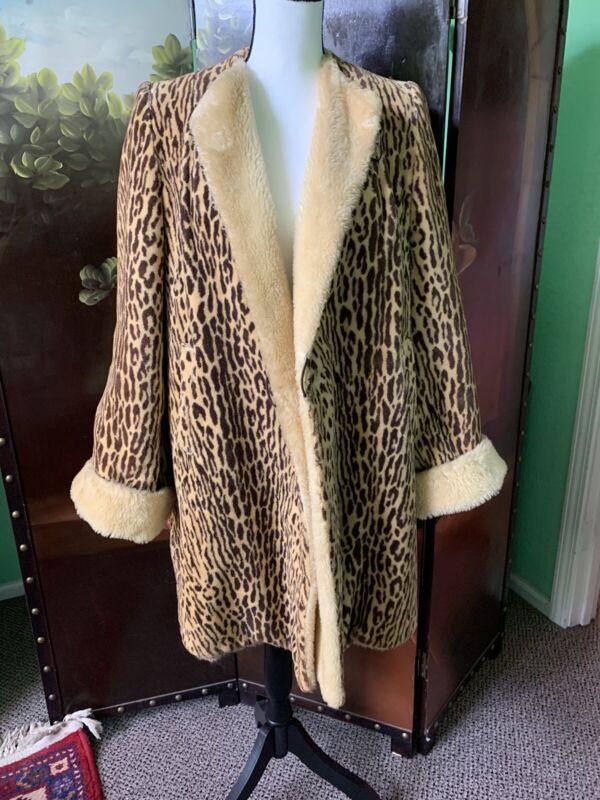 Vintage Faux Fur Coat 1940's Reversible Leopard Print