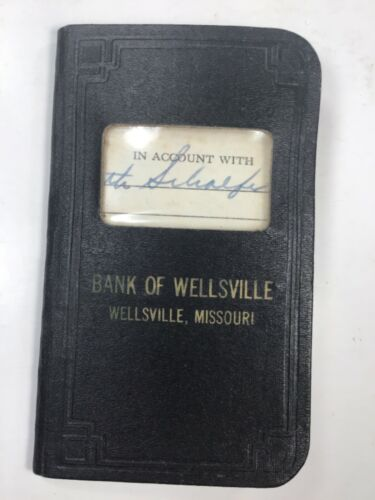 1950's Bank Of Wellsville Mo Account Book