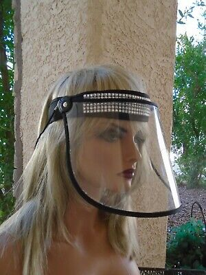 Rhinestone Safety Shield Mask Designer Clear Plastic Face Covering Adjustable