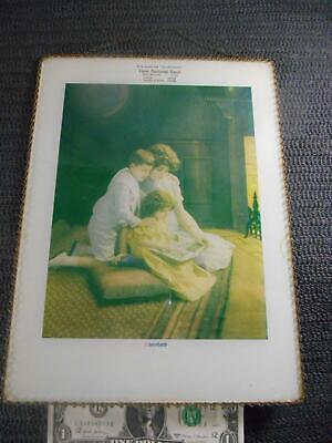 "Antique ADVERTISING Flue Cover Chain Frame MOTHER w CHILDREN 9x12"" NEW BOSTON TX"