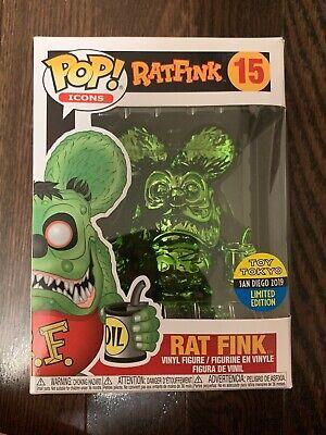 SDCC 2019 Funko Pop #15 Rat Fink Green Chrome Comic Con Toy Tokyo +Pop Protector
