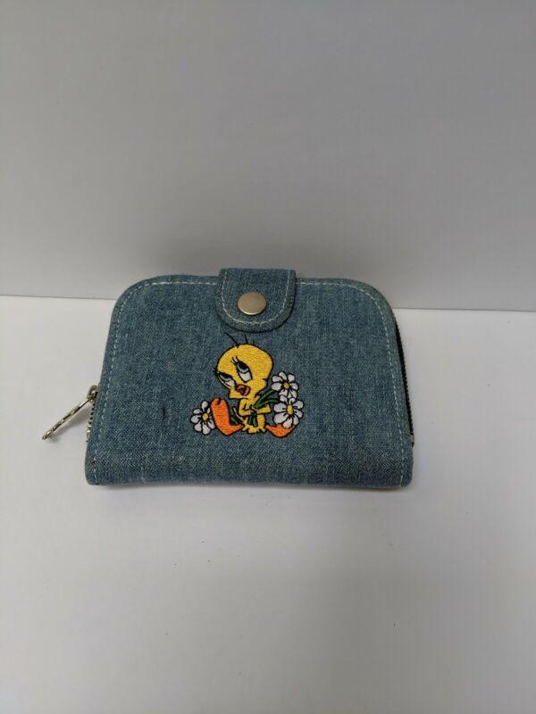 Vintage Tweety Bird Jean Trifold Wallet with zipper