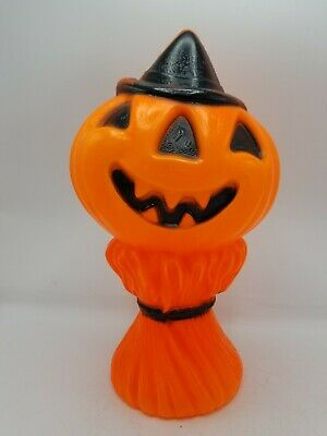 Vintage Halloween Blow Mold, Jack O Lantern w Witch Hat, Empire 1969